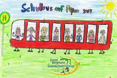 Schild Schulbus auf Füßen©Gretel-Bergmann-Grundschule Eystrup